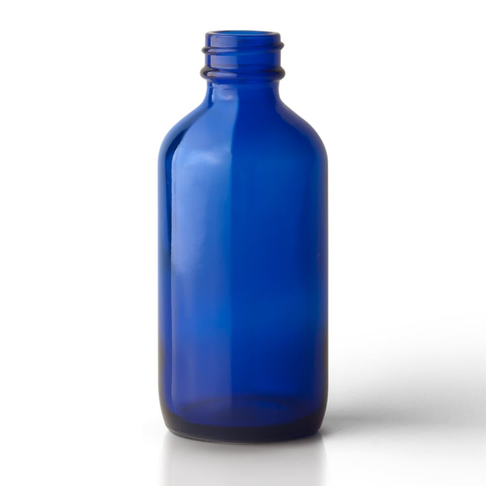 4 oz Cobalt Blue Glass Boston Round Bottle - sold by Packaging Options Direct