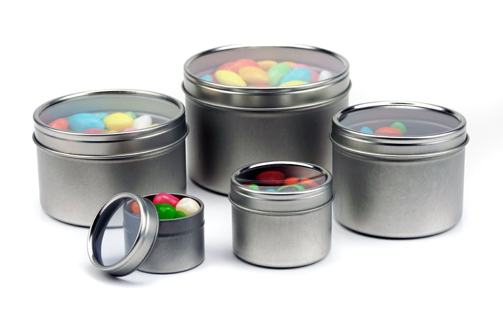 Deep Seamless Window Lid Tin Can - Silver Metal tins sold by Mimi Pack