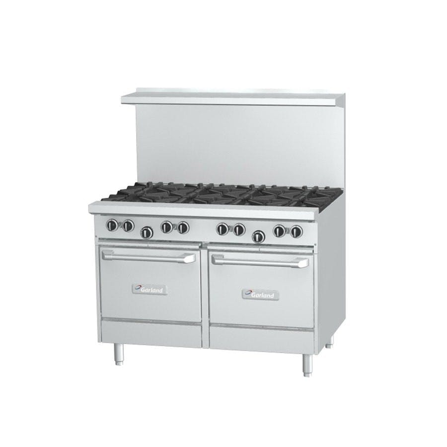 Garland G48-8CS - 8 Burner Gas Range - (1) Convection Oven - (1) Storage Base Commercial range sold by Elite Restaurant Equipment