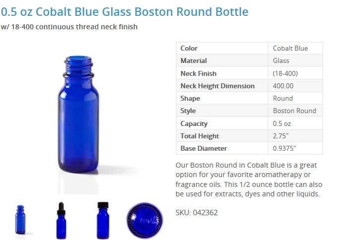 0.5 oz Cobalt Blue Glass Boston Round Bottle - sold by Packaging Options Direct