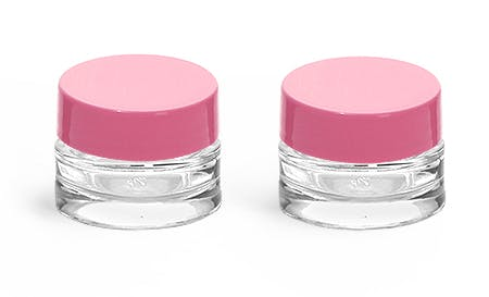 0.25 oz Clear Glass Thick Wall Cosmetic Jars w/ Pink F-217 Lined Caps