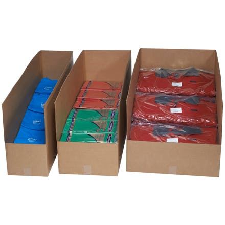 Warehouse Rack Kraft Bins Kraft packaging sold by Ameripak, Inc.