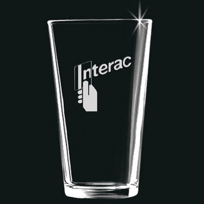 Deep etch pint glass Promotional product sold by Promosapien
