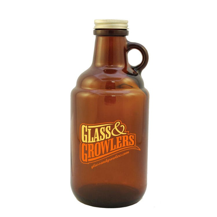750 ml Amber Mini Growlette w/ Loop Handle Growler sold by Glass and Growlers