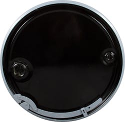 """55 Gallon Black Open Head Unlined Steel Drum w/ Cover and Lever Lock Ring, 2"""" and 3/4"""" Fittings - sold by The Cary Company"""