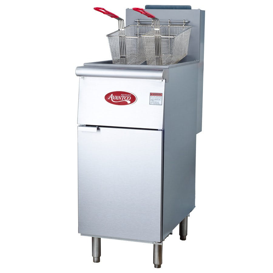 Avantco FF300 40 lb. Stainless Steel Floor Fryer - 3 Tubes, 90,000 BTU Commercial fryer sold by WebstaurantStore