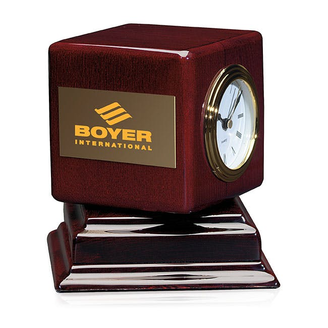Rosewood Swivel Award Clock by Jaffa® Award sold by Distrimatics, USA