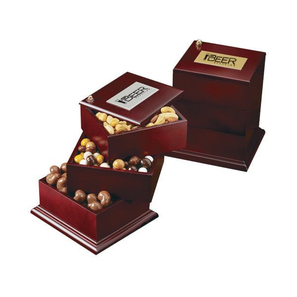 Wood Swing Box w/Premium Confections Promotional product sold by MicrobrewMarketing.com