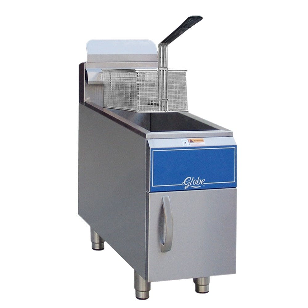 Globe GF15G 15 Lb Gas Countertop Fryer - Natural Gas Commercial fryer sold by Mission Restaurant Supply