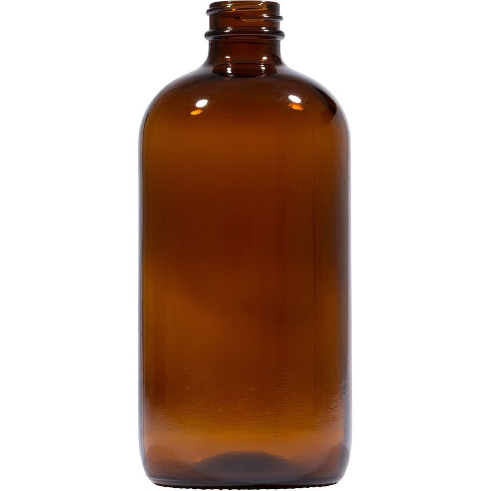 16 oz Round Glass Amber Boston Round Bottle - sold by Packaging Options Direct