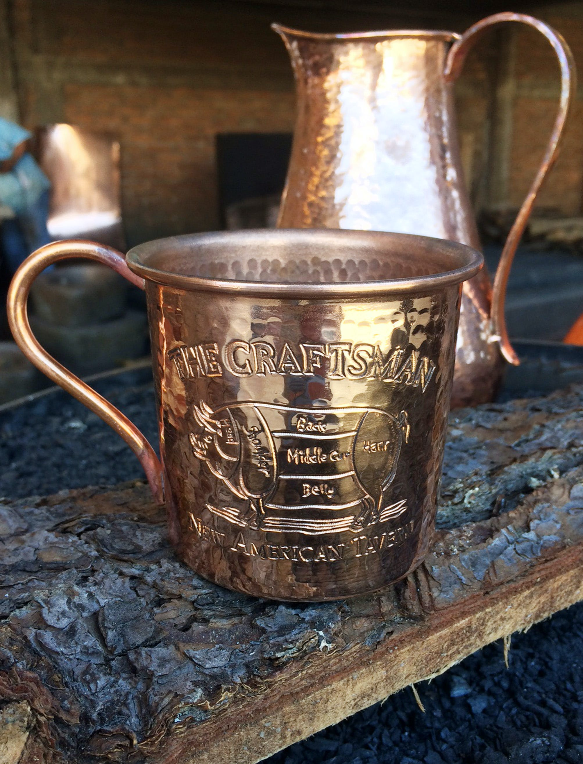 14 oz hand hammered copper mug with logo(s) Embossed - sold by Hammered Mules