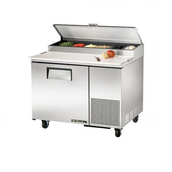 "44"" Stainless Pizza Prep Table w/ 6 Pans & 1 Door"