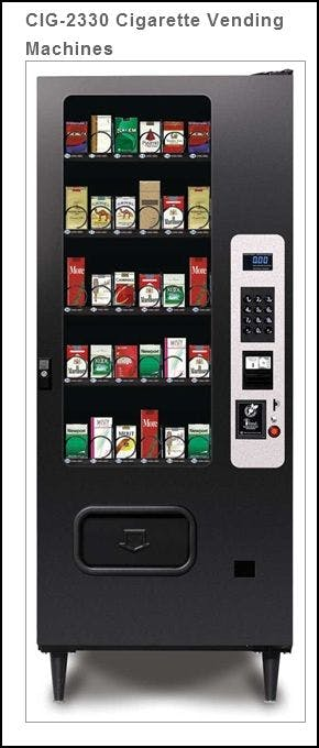 NEW CIG2330 - 30  Selection Cigarette Vending Machine -  23 Selection Snack Machine Coverted to 30 CIG Selections Vending machine sold by MEGAvending.com