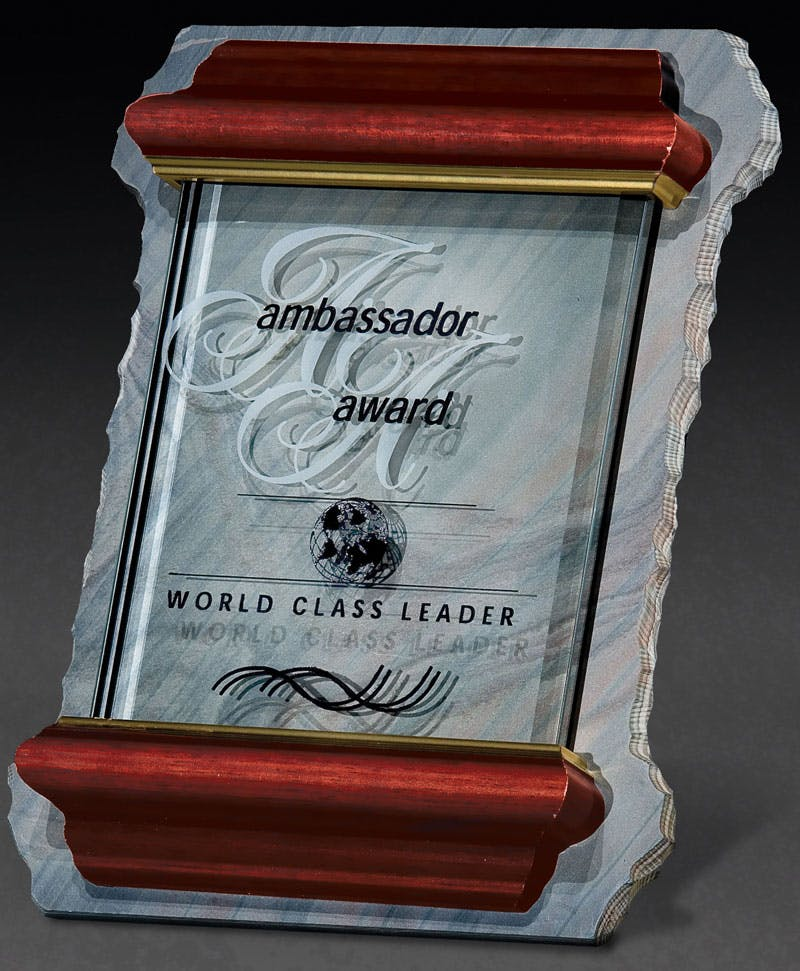 Glass/Slate Plaque Award sold by Distrimatics, USA
