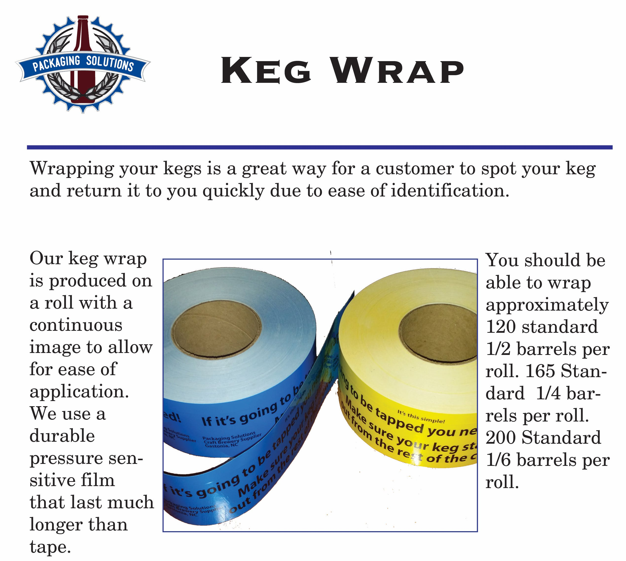 Keg Wraps Keg label sold by Packaging Solutions