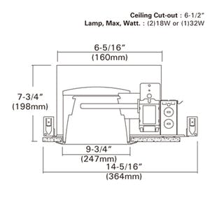 """6"""" Air Tight New Construction Horizontal Recessed Housing, 120V/277V - sold by RelightDepot.com"""