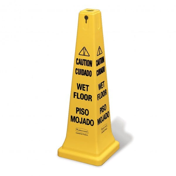 Yellow Multilingual Caution / Wet Floor Safety Cone