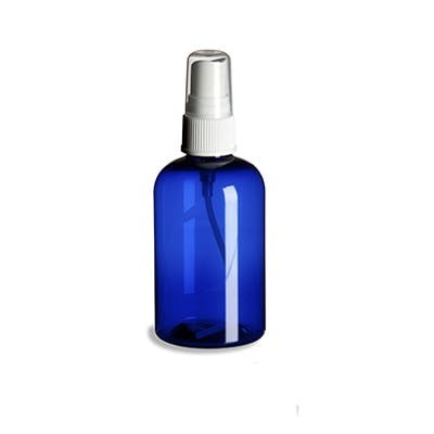4 oz Blue Plastic PET Boston Round Bottle w/ Fine Mist Spray Plastic bottle sold by PremiumVials