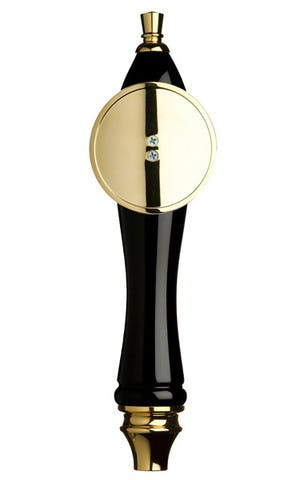 Black Pub Tap Handle with Gold Round Shield Tap handle sold by Taphandles LLC