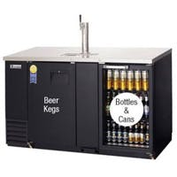Everest EBD3-BBG Back Bar & Direct Draw Commercial Keg Refrigerator with Solid & Glass Doors Kegerator sold by Beverage Factory