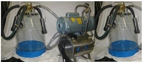 3/4 HP Mini-Milker milking machine for GOATS with TWO 8 gal plastic bucket assemblies Milking machine sold by Simple Milking Equipment