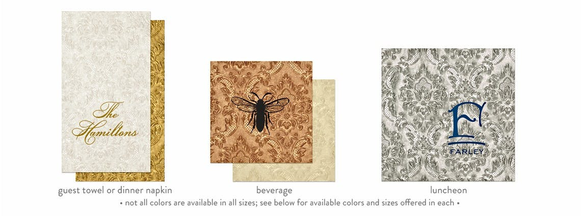 Carte Napkins & Guest Towels in 4 sizes & 5 colors (min. 50) - Carte Beverage/Cocktail, Luncheon & Dinner Napkins & Guest Towels - sold by Cup of Arms