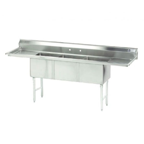 "90"" 3 Compartment Stainless Commercial Sink w/ 2 Drainboards - ADVF3-1818-18RL"