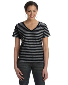 8823 Anvil Ladies' Lightweight Striped V-Neck T-Shirt Promotional shirt sold by Lee Marketing Group