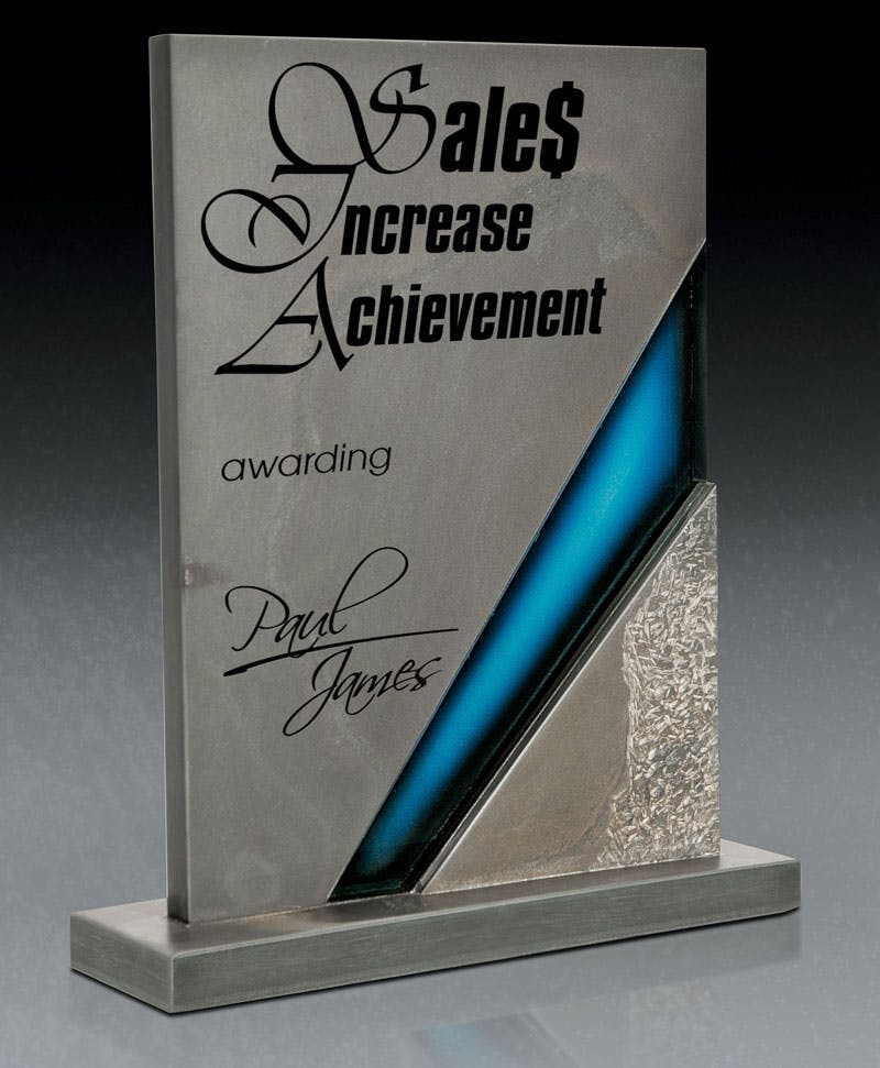 Multi-Colored Slate award with Art Glass Accent Award sold by Distrimatics, USA