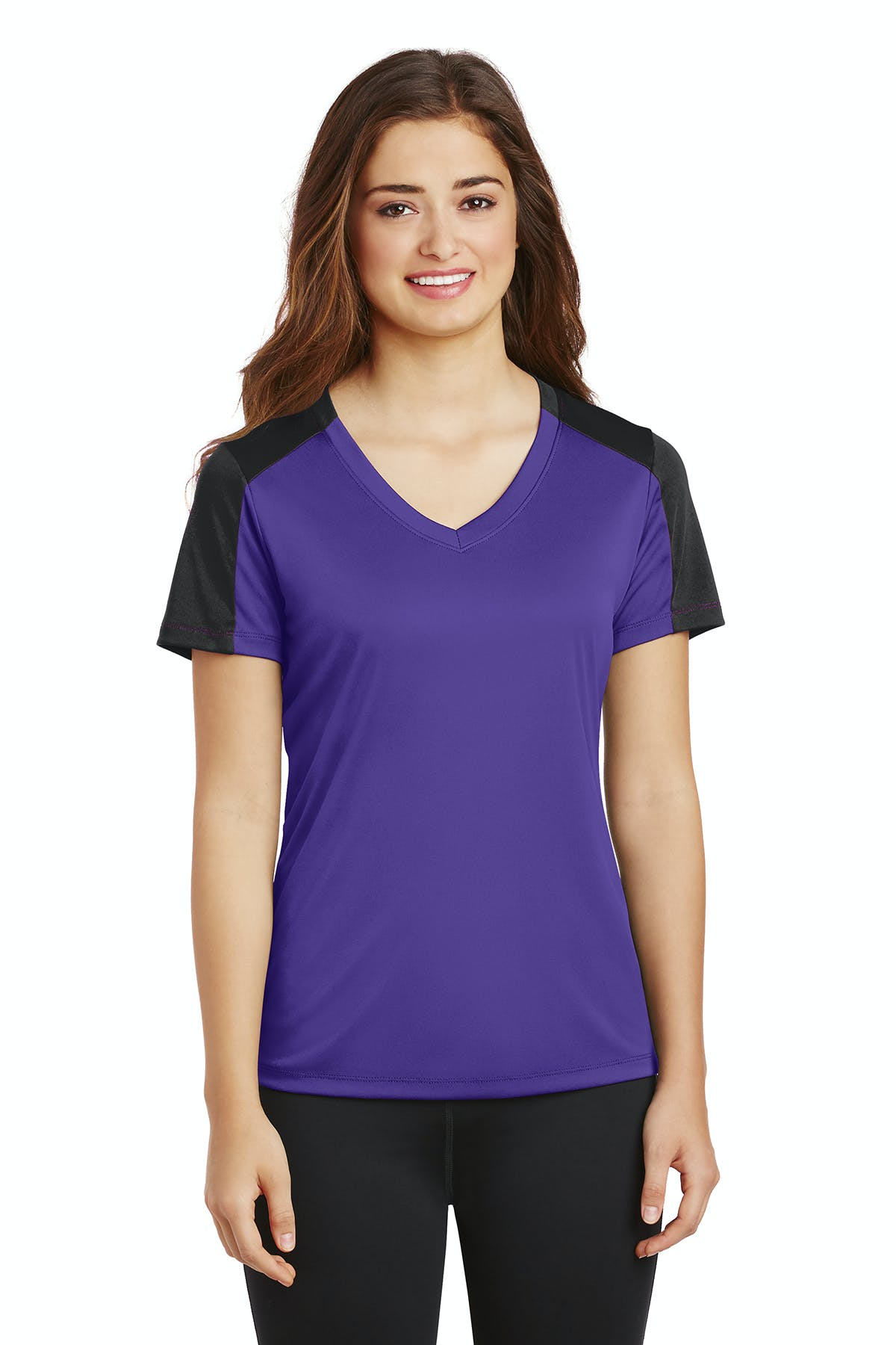 Sport-Tek® Ladies PosiCharge® Competitor™ Sleeve-Blocked V-Neck Tee - sold by PRINT CITY GRAPHICS, INC