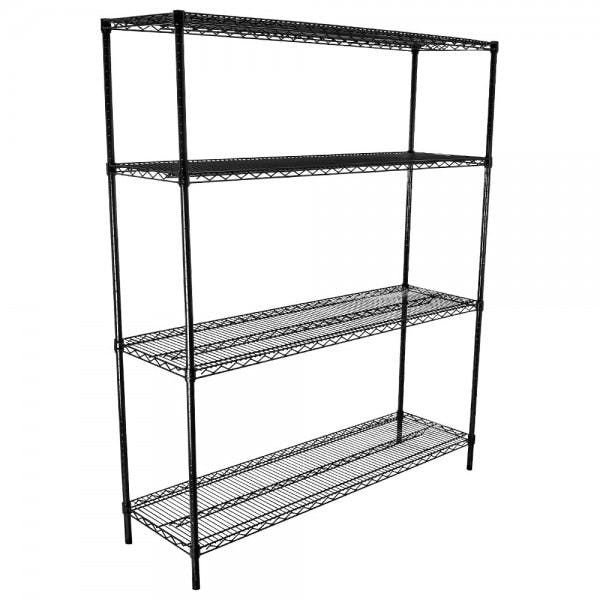 "18"" x 60"" Black Epoxy-Coated Adjustable Shelving Kit"