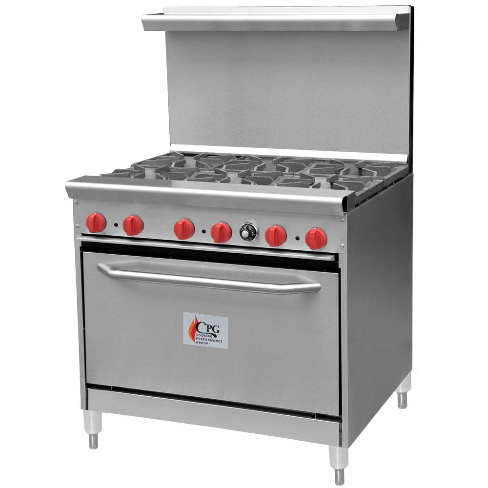 "Cooking Performance Group 36-CPGV-6B-S30 6 Burner Gas Range with 30"" Standard Oven Commercial range sold by WebstaurantStore"