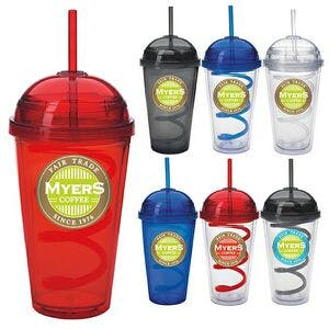 18 Oz. Dome Tumbler W/ Curly Straw Plastic cup sold by Dechan, Inc. II