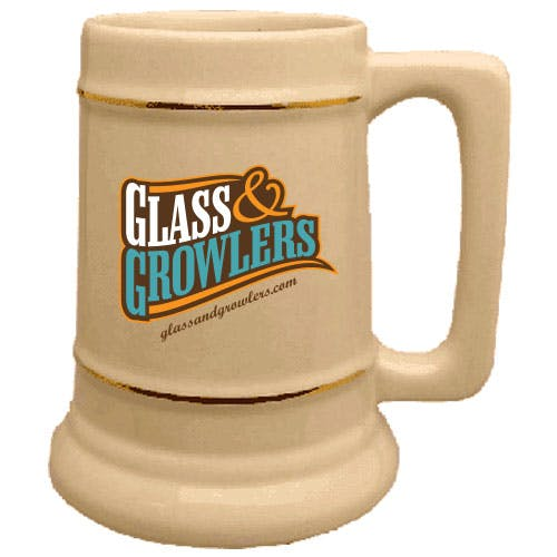 Natural Beer Stein with Gold Bands 28 oz Customized Beer Mug sold by Glass and Growlers