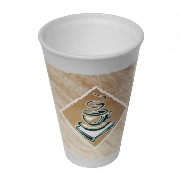 Thermo-Glaze® 16 oz. White Disposable Foam Drink Cup