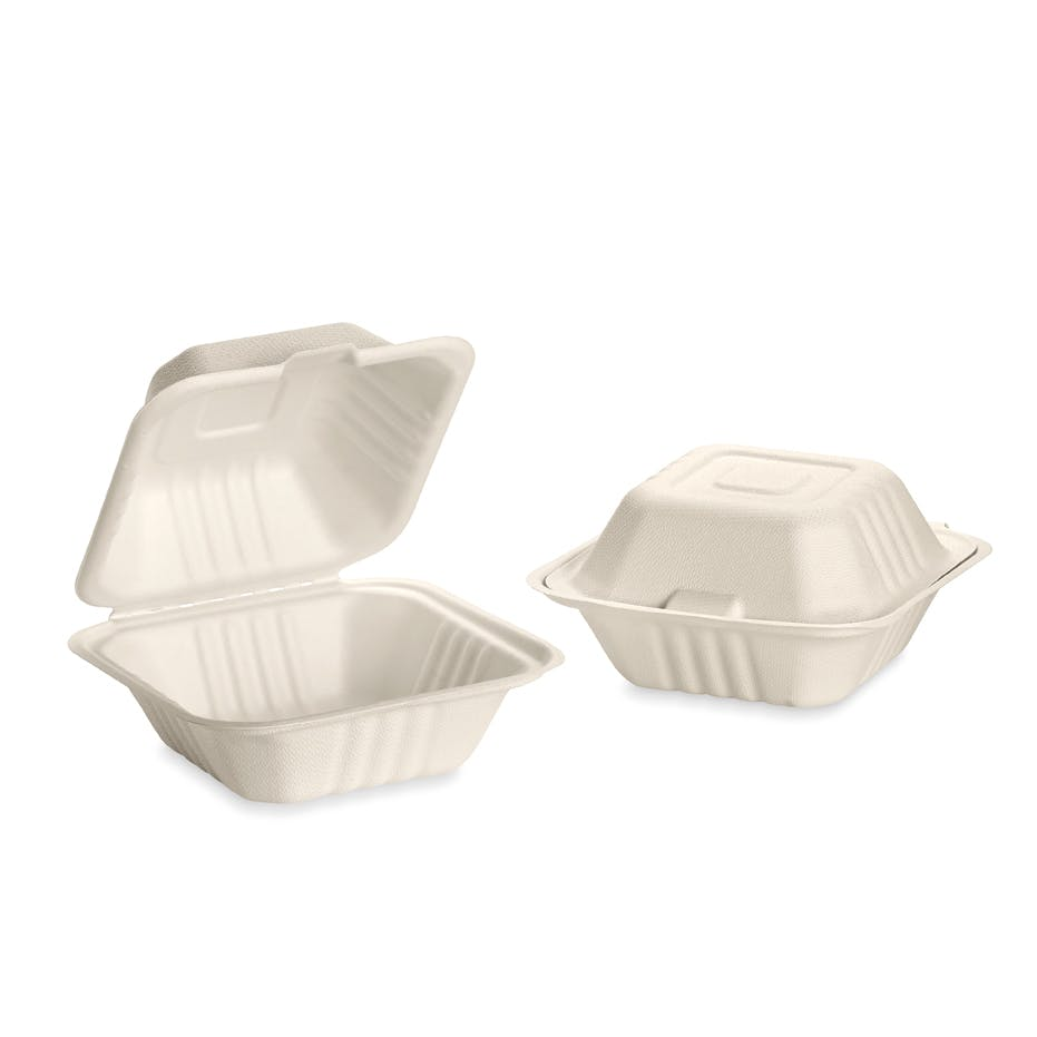 "6"" x 6"" Tree-free, compostable hinged take-out containers - sold by Emerald Brand"