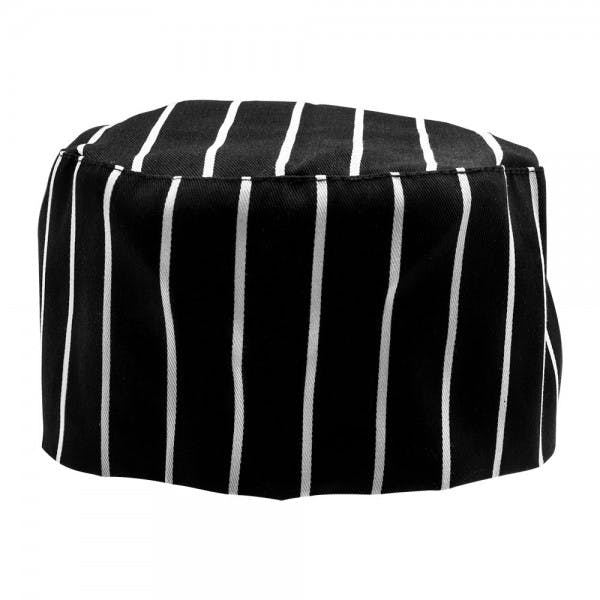 Black w/ White Chalk Stripe Skull Cap Hat