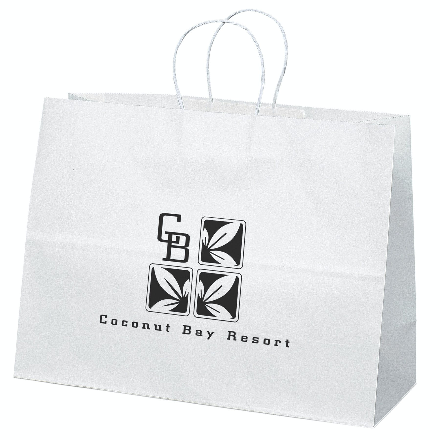 White Paper Shoppers Bag (Item # ZIFQU-AKWSJ) Promotional Paper Product sold by InkEasy