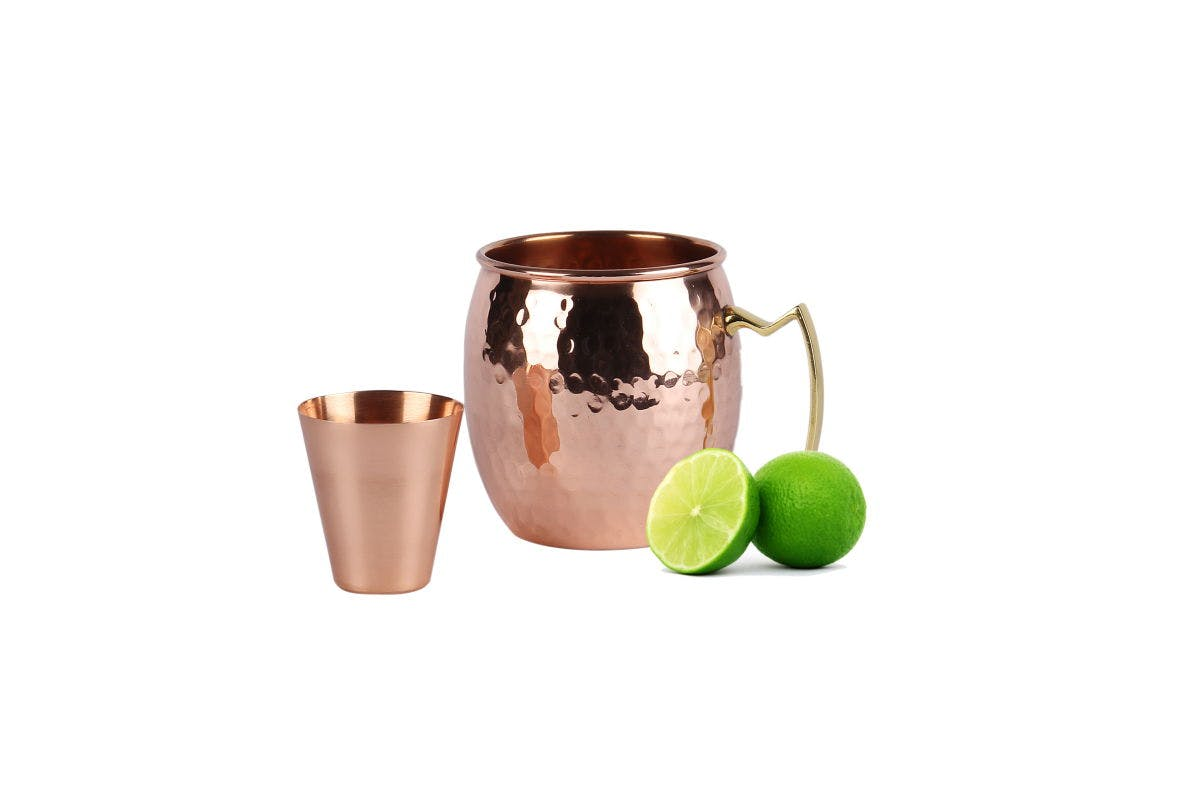 Moscow Mule 100 % Solid Pure Copper Unlined Mugs with BONUS Shot Glass - Hammered Design Copper mug sold by a29llc