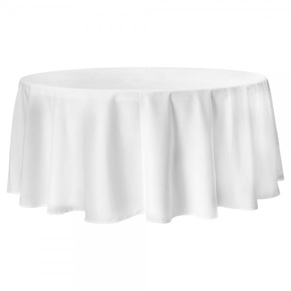 "90"" White Hybrid Polyester Round Tablecloth"
