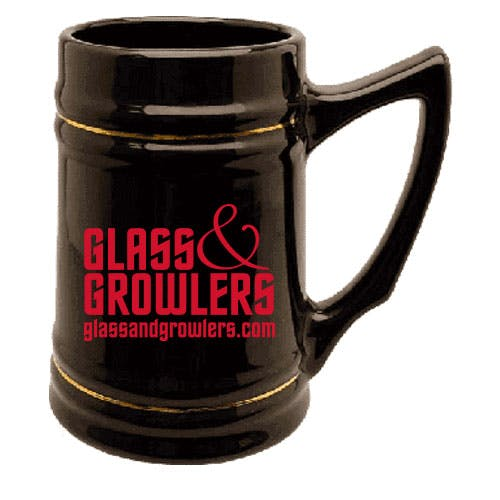 Black Beer Stein with Gold Bands Customized Beer Mug sold by Glass and Growlers