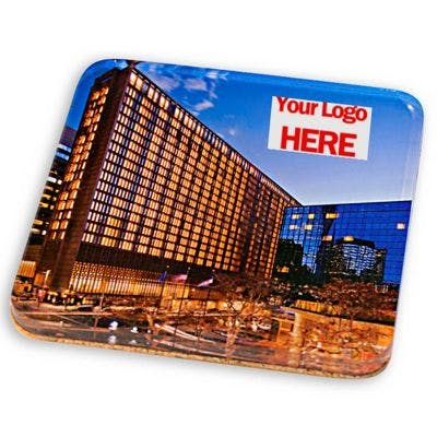 """Acrylic Coasters with Cork Backing 4"""" Square - Acrylic Coasters with Cork Backing - sold by Worldwide Ticket and Label"""