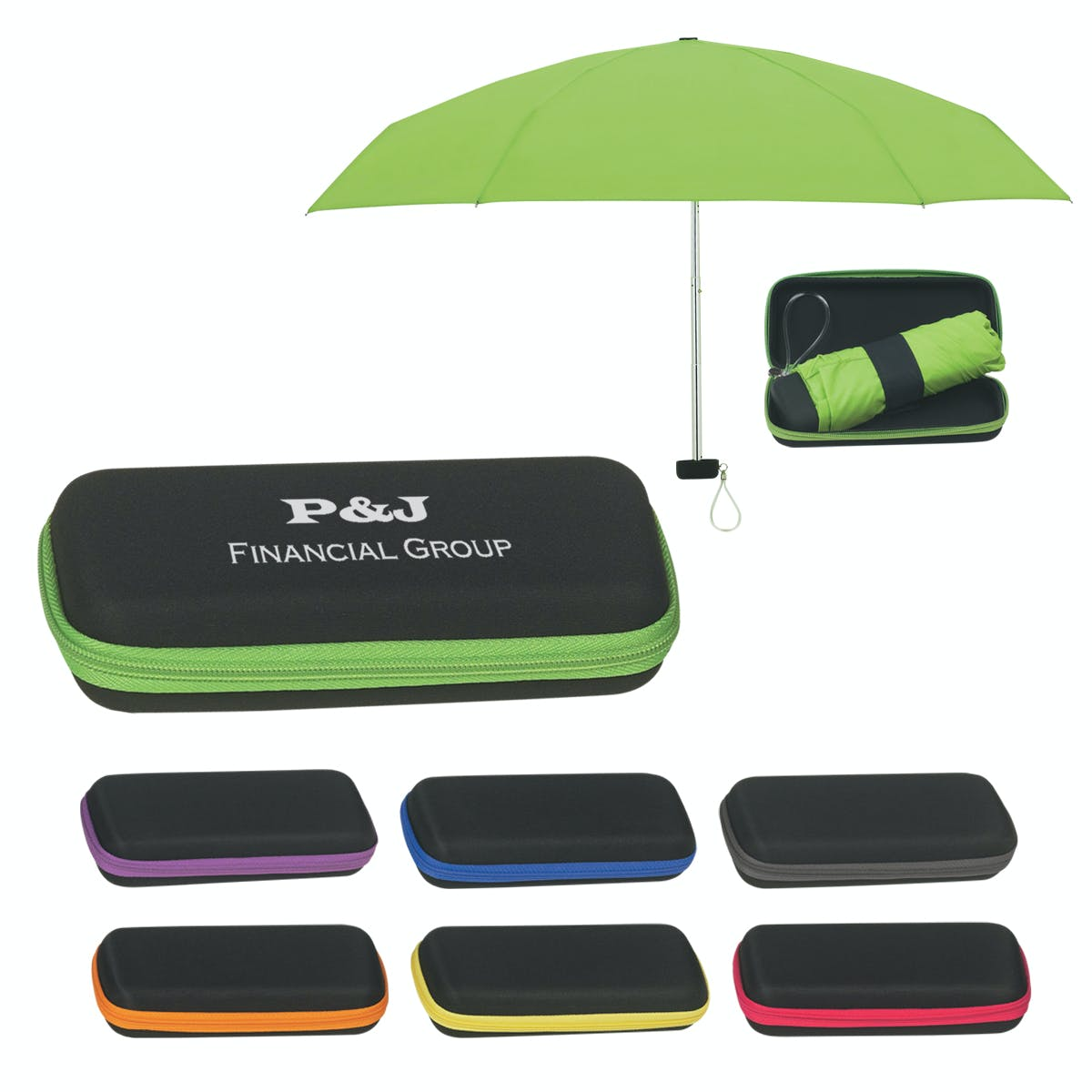 Folding Travel Umbrella with Case (Item # OEEOM-GHAFD) Umbrella sold by InkEasy