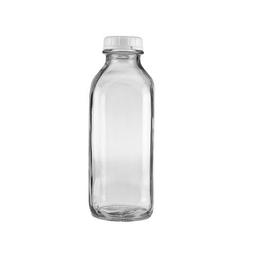 32 oz Clear Glass Tall Milk Bottles (Optional White Tamper-Evident Cap) Glass bottle sold by Freund Container & Supply