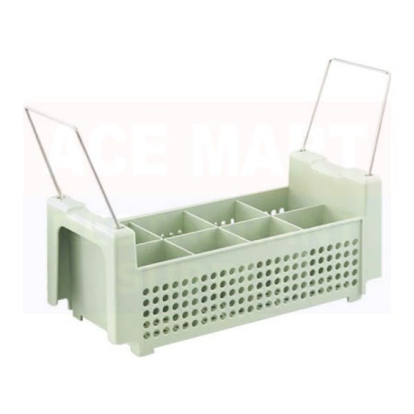 8 Compartment Green Plastic Flatware Rack