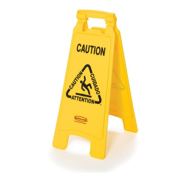 "Yellow ""Wet Floor"" Caution Sign"