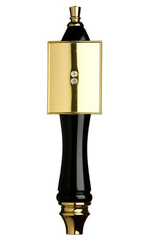 Black Pub Tap Handle with Gold Rectangle Shield Tap handle sold by Taphandles LLC