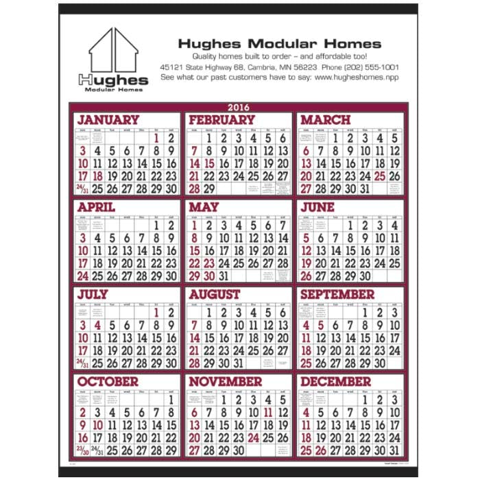 Norwood Promotional Products :: Product :: Big Numbers Span-A-Year Custom calendar sold by Distrimatics, USA