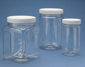 Gripper and Round Jars with Caps Plastic jar sold by Consolidated Plastics