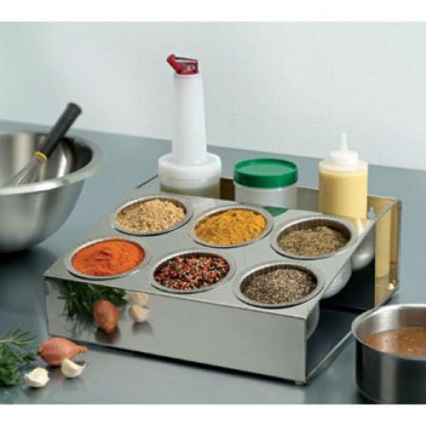 6 Bowl & 4 Bottle Stainless Spice Roll Box